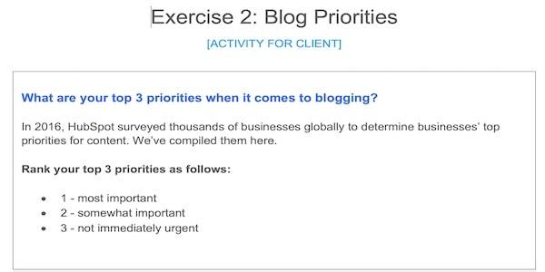 blog strategy worksheet